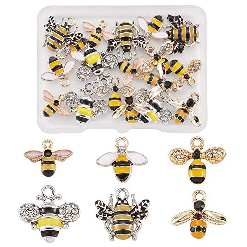 Beadthoven 24pcs Yellow Enamel Bee Charms with Crystal 6 Styles Honeybee Insect Floating Charms Pendants for DIY Earrings Necklace Jewelry Making