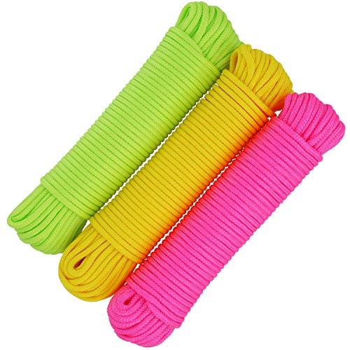 COM-FOUR® 3x 20 m universeel touw, veelzijdig bevestigingskoord, waslijn en metselkoord, gevlochten lijn voor DIY-geschenken (60 meter - 3 kleuren)