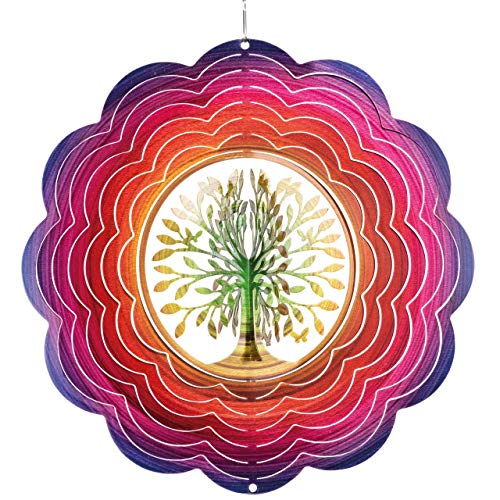 CIM Edelstahl Windspiel - Rainbow 3D Tree - Ø 250mm - leichtdrehendes Windmobile mit brillanten Farben- inklusive Aufhängung – attraktive Raum- Fenster und Garten-Dekoration - Geschenkidee