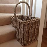 Grey Rattan Wicker Stair Storage Basket