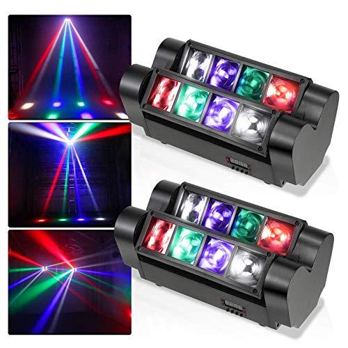 Aocean 2 Luces de Escenario con Cabezal móvil para Aparejo de Luces de Discoteca, 2 Luces de araña con 8 LED 4 en 1, Control DMX512 para Fiestas, Eventos en Vivo, Discotecas, Bares, Clubes - Gorgeou