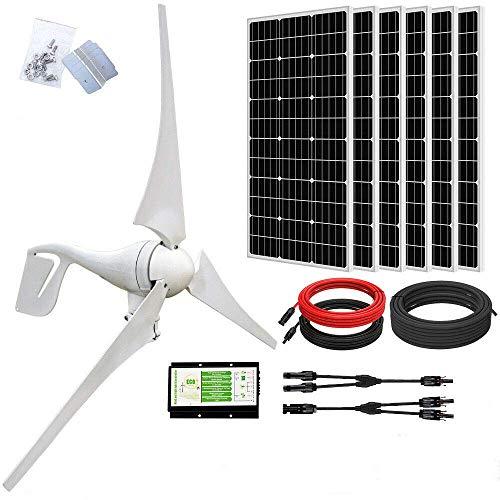 ECO-WORTHY Kit solar eólico de 24 voltios y 1000 vatios: aerogenerador de 400 W + 6 paneles solares monocristalinos de 100 W + 1 cable solar para sistemas fuera de la red