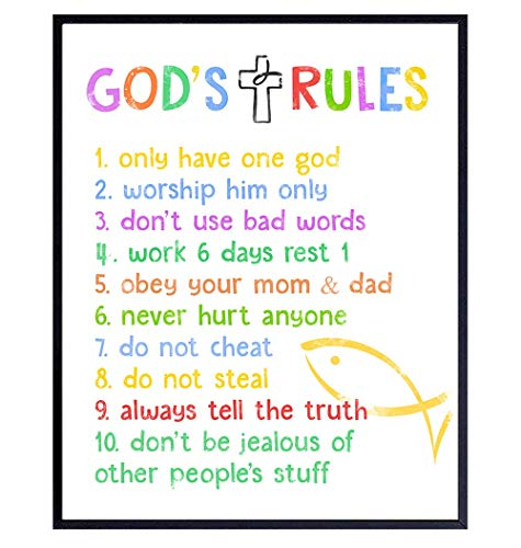 Ten Commandments for Kids - Religious Scripture, Bible Verse Wall Art - Kids Bedroom Decor - Kids Wall Art - Christian Gift For Child, Boys, Girls Room, Nursery, Baby Room - Pastel Colors Poster