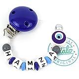 Baby Schnullerkette Nazar Auge in Blau zur Geburt und Taufe, Jungen, Individuelle Schnullerhalter Namenskette