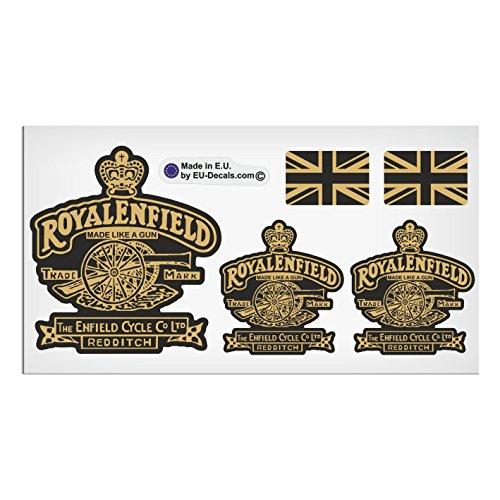 """Royal Enfield Aufkleber, Motiv """"Made Like A Gun"""" und """"GB-Flagge"""", hochwertig, laminiert, 5 Stück, schwarz und goldfarben."""