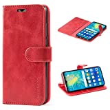 Mulbess Cover per Huawei P30 Lite, Custodia Pelle con Magnetica per Huawei P30 Lite New Edition [Vinatge Case], Vno Rosso