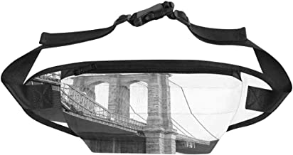 INTERESTPRINT Travel Fanny Bag, View Brooklyn Bridge with Foggy City Workout Pouch Hip Bum Bags for Outdoors Cycling Camping