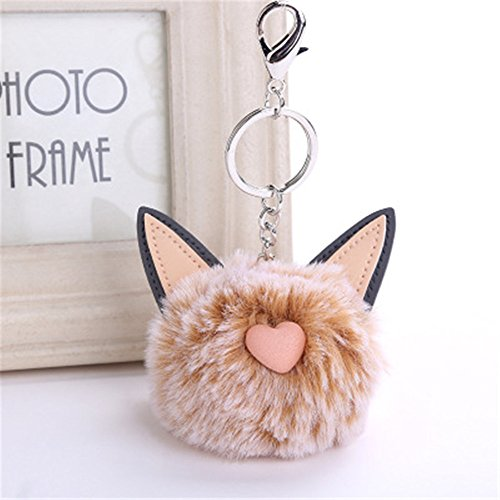 LEEDY 2019 New Cute Cat Ears Keychain Pendant Women Key Ring Holder Pompoms Key Chains 8CM, Xmas Decor Hanging Baubles Pendant Ornament Decorations Accessories