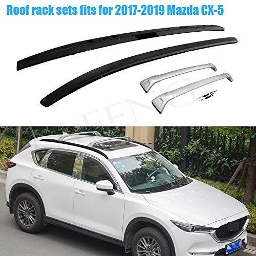 LAFENG Juego de barras de techo para Mazda CX-5 2017-2019 4 piezas de portaequipajes y juegos de barras transversales.