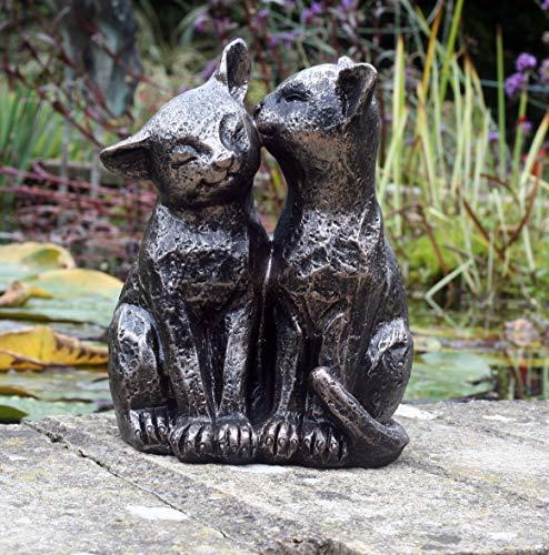 FHFY Garden A Pair of Bronze Effect Cats, 18cm (medium) gardening ornament, indoor or outdoors. …