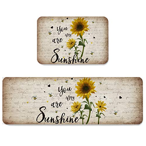 Kitchen Rug Set 2 Pieces Cushioned Kitchen Floor Mats Comfort Soft Standing Doormat, Non Slip Rugs and Runner Rustic Sunflower and Bees You are My Sunshine New Hampshire