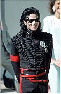 Michael Jackson King of Pop Big Smile in Black with Hands Behind 8 x 10 Inch Photo