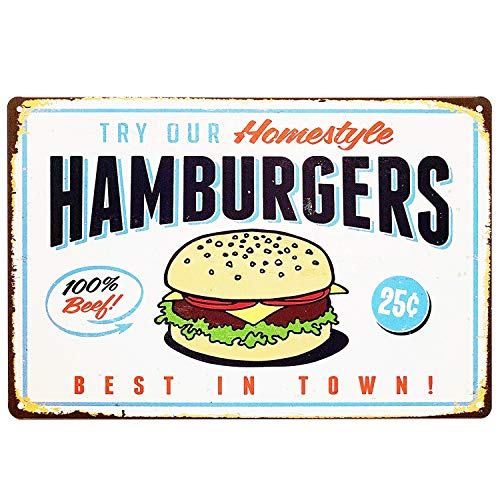 UNIQUELOVER Vintage Kitchen Signs Hamburgers Best in Town Retro Metal Tin Sign Wall Plaque Poster Decor 8 x 12 Inches (Small)