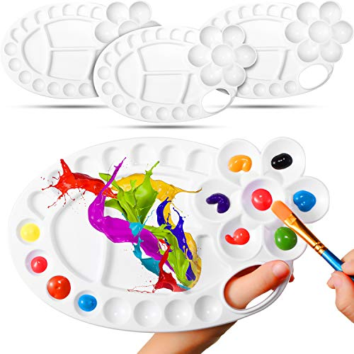4 Pieces Paint Tray Palettes with 26 Wells Art Paint Pallet Non-Stick Plastic Palette for Watercolor, Oil Painting, Propylene, Gouache