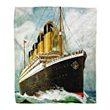 Suike Throw Blanket 50x60 Inches Luxury Flannel Vintage Ocean Rms Titanic Liner Draw Furniture Interesting and Warm Pop Art Microfiber Print Soft Cozy Warm Wrinkle Resistant Couch Bed Throws Sofa