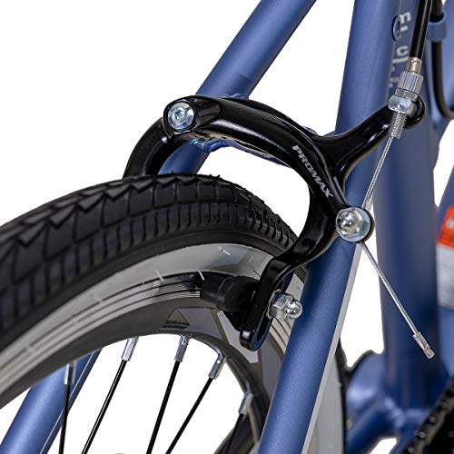 Hiland Hybrid Bike Urban City Commuter Bicycle for Women Comfortable Bicycle 700C Wheels with 7 Speeds Blue Grey