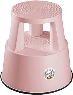 Wedo Step - Taburete con Ruedas (plástico, 44 cm), Color Rosa Claro
