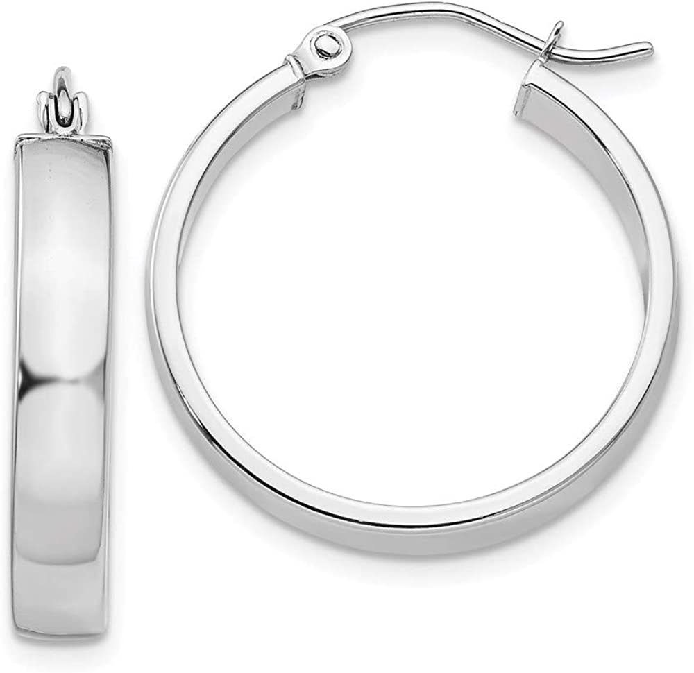 14k White Gold Hoop Earrings Ear Hoops Set Round Square Tube Fine Jewelry For Women Gifts For Her