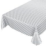 Mantel de hule encerado a cuadros lavable para mesa, toalla, gris, 100 x 140cm