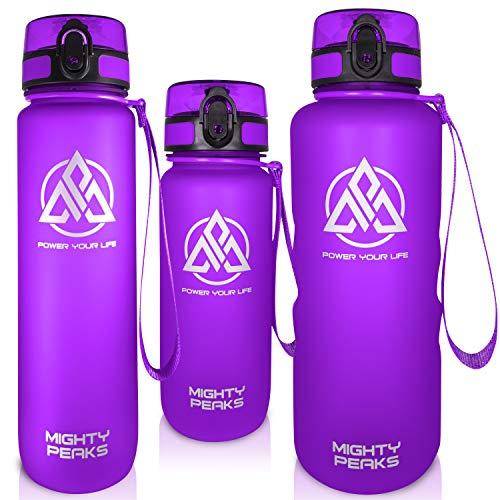 MIGHTY PEAKS Tritan Sport-Trinkflasche Kinder 650-ml - Fruchteinsatz, Fruchtsieb Trink-Flasche mit Früchtebehälter-BPA frei - 350ml 500ml 650ml 1l 1500ml 1,5l 1.5-l Lila - Wasserflasche 650ml