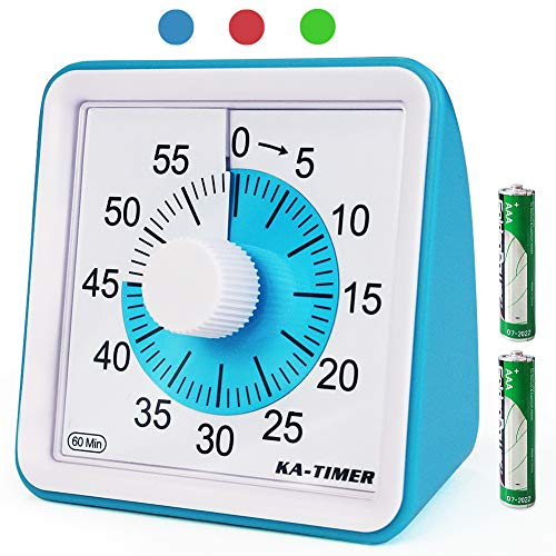 KITCHENARM 60 Minutes Visual Kitchen Timer Wind Up - 3 Inches Visual Analog Timer For Kids Adults No Ticking - 4 Alarm Modes Visual Countdown Timers For Cooking - Silent Timer For Classroom (BLUE)
