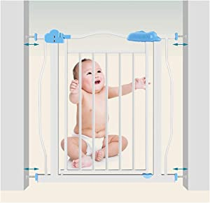 HONGNA Expandable Pet Fence Baby Gates For Stairs Fence Isolation Door Free Punching Self Closing  Color High77cm  Size 137-147cm