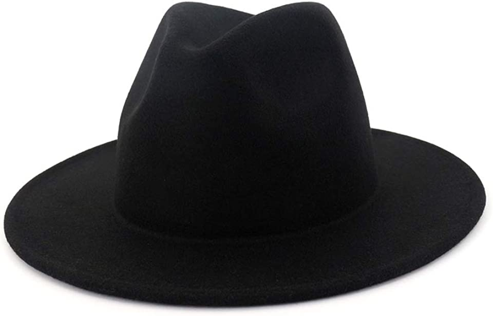 Mens Fedora with Wide Brim Womens Panama Hat British Style for Cocktail Party Wedding & Outdoor Adjustable Black