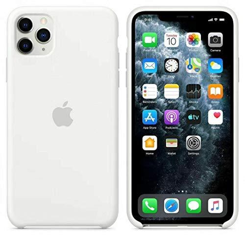 Funda Apple para iPhone 11, carcasa protectora con logo original silicona suave gel protector ultrafino textura antideslizante protección contra golpes (iPhone 11, Blanco)