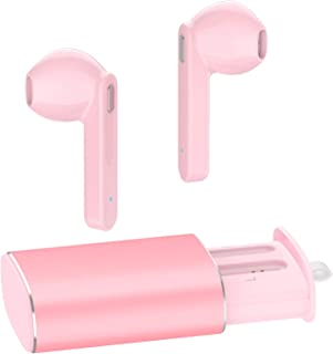 Wireless Earbuds, AUGYMER Bluetooth 5.0 True Earphones Auto Pairing Bluetooth Headphones TWS Stereo HiFi Headphones for Running Sports in-Ear with Type-C Charging Case Built in Mic Headset (Pink)