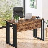 Mesa de ordenador con marco de metal, mesa de oficina, mesa de trabajo, mesa de madera industrial con placa frontal, fácil montaje, marrón rústico