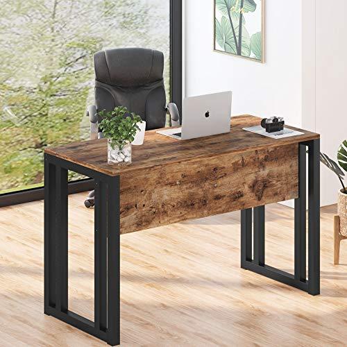 Mesa de Ordenador, Mesa de Oficina Escritorio, Escritorio industrial Estación de trabajo con deflector delantero, Madera & Marco de Metal Pesado