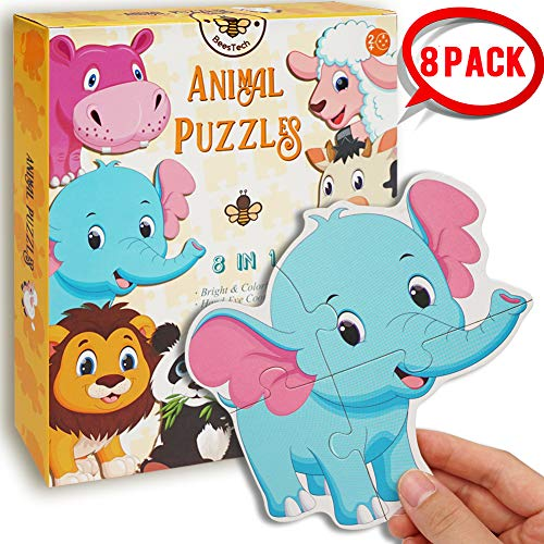 BEESTECH Beginner Puzzles for 2, 3 Years Old Toddlers, 8 Pack Animal Jigsaw Puzzles with Panda, Tiger, Rabbit and More, Floor Puzzles, Learning Educational Puzzles for Toddlers