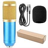 Micrófono de grabación de sonido de condensador Mikrofon con soporte de choque para radio Braodcasting Grabación de canto Ktv un tamaño Paquete2 Azul