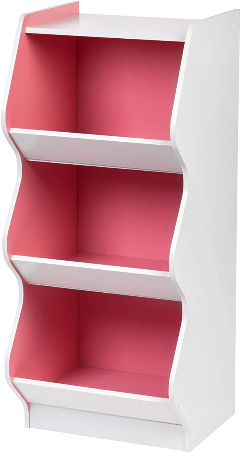 IRIS 3 Tier Curved Edge Storage Shelf, White and Pink