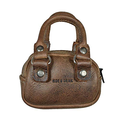 Hide & Drink, Kleine Aktentasche aus Leder für Bargeld, Münzfach, USB-Tasche, Zubehör, handgefertigt, Bourbon Brown, Small,