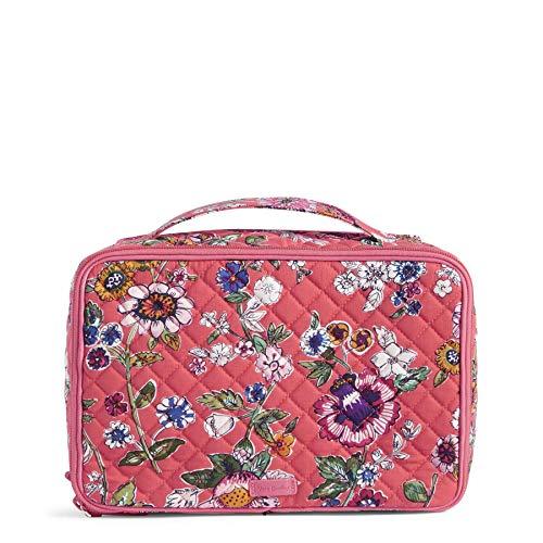 Vera Bradley Iconic Kosmetiktasche für Rouge und Pinsel, groß, Baumwolle, Pink (Coral floral),...