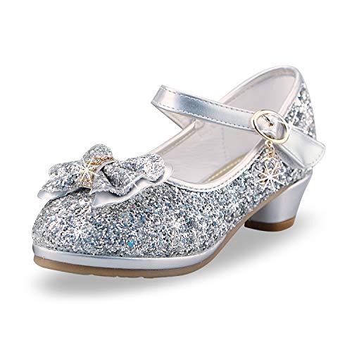 Mädchen Prinzessin High Heel Schuhe Kinder Party Pumps 31 EU/Etikettengröße 32 Silber