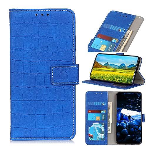 Funda para Motorola Moto One Fusion Plus de piel con textura de cocodrilo horizontal con soporte, ranuras para tarjetas y cartera hangma (color: azul)