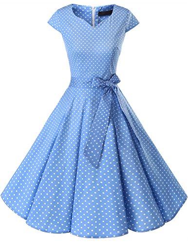 Dresstells Damen Vintage 50er Cap Sleeves Rockabilly Swing Kleider Retro Hepburn Stil Cocktailkleid Blue Small White Dot 2XL