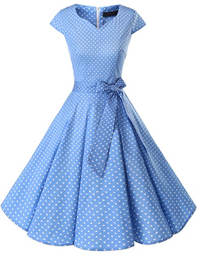 Dresstells Damen Vintage 50er Cap Sleeves Rockabilly Swing Kleider Retro Hepburn Stil Cocktailkleid Blue Small White Dot XL