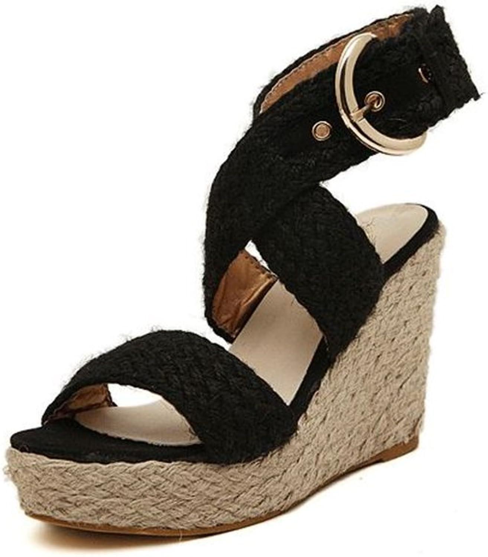Bon Soir Women's Charm Buckle Sweet Elegance Sandy Beach Summer Straw Braid Platform Dress Wedges Sandals
