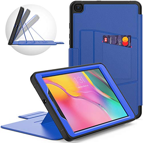 SEYMCY Galaxy Tab A 8.0 2019 Case (SM-T290/T295), Heavy Duty Full Protection Leather Folio Case with 6 Magnetic Stand Angles and Card Slot for Galaxy Tab A 8.0' 2019, Black/Blue