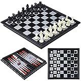 iBaseToy Juego de ajedrez magnético de viaje 3 en 1, para niños y adultos, con tabla de almacenamiento portátil plegable, 25 x 25 cm