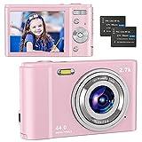 Compactas Cámaras Digitales, 2.7K UHD Camara Compacta, Vlogging 44MP Camara de Video, Camara de Fotos con Pantalla de 2,8' y Zoom 16x y 2 baterías, Camara Digital para niños/Adultos/Mayores (Pink)