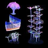 Lpraer - 4 plantas artificiales luminosas para acuario, incluye anémonas de silicona y corales, decoración para peces, tanques de peces, acuarios, paisajes