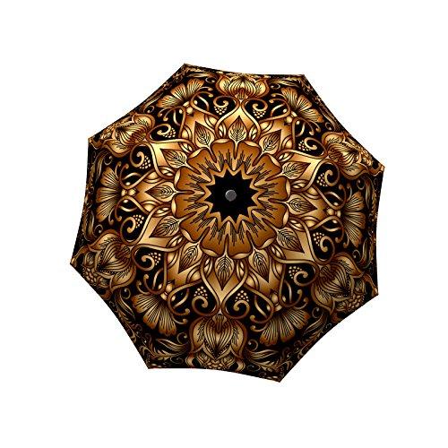 Extra Large Umbrella Windproof - Stick Designer Umbrella for Women - Colorful Rain Umbrella with Hook Handle - Gold Floral Umbrella Design - Fashion Umbrella Strong Durable for Wind by LB