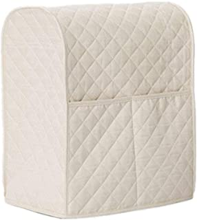 Giveme5 Kitchen Aid Mixer Cover, Leather Stand Mixer Cover Dust-Proof Cover Lattice Pattern Thicken Protector Cover Organizer Bag for Kitchen Mixer QT4.5 QT5 QT6 (Beige)