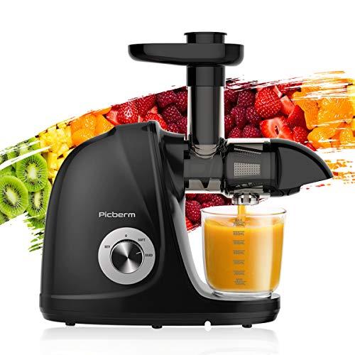 Entsafter, Slow Juicer Entsafter Gemüse und Obst, BPA-frei Saftpresse Leicht Reinigung mit Ruhiger Motor und Umkehrfunktion, Reinigungsbürste & Rezepte, Schwarz