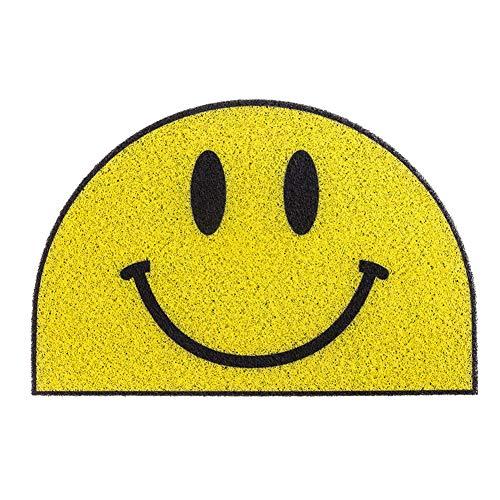 CXJC Tapis de Salle de Bain Smiley Home Tapis de Porte Jaune Lame PVC Tapis Antidérapant Facile à Nettoyer Coussin de Pied