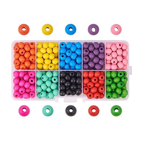 PandaHall Elite - 380-400pcs 10 Couleurs Perles en Bois Teint Environnement Perle Ronde pour la Fabrication de Bijoux Collier Bracelet, 7x6mm, Trou: 2mm